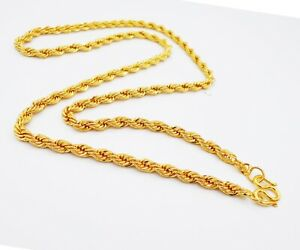 5 MM Men's Rope Chain 22K 24K Thai Baht Gold Filled Yellow GP Necklace Jewelry