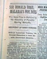 SIR RONALD ROSS British Medical Doctor Work on MALARIA Death 1932 Old Newspaper