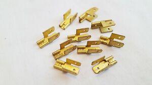 NOS Lucas 6.3mm (0.25 inch) Brass 3-Way blade piggy back spade connectors x 10