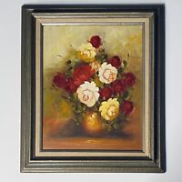 """Framed Oil Painting Signed R.Cox Red & Yellow Roses Dark Florals Robert 16""""x20"""""""