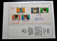 """RARE FUJEIRA EXHIBIT PAGE """"CATS"""" 1ST DAY COVER POSTALY USED TO USA RECEIVING CAN"""