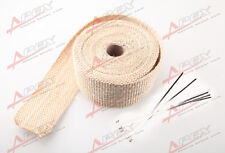 "Fiberglass Exhaust Thermo Wrap Tape High Heat 2"" x 1/16X25FT Cloth Roll Tan G"