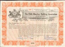 The Fifth Bluecher Building Association of Philadelphia Pennsylvania stock share
