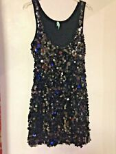 Size 14 Black Sequined Party Dress by Miso Short Stretchy Sleeveless