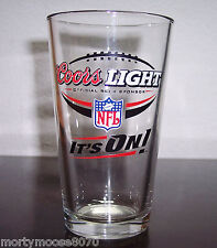 "COORS LIGHT NFL ""IT'S ON"" ONE PINT VINTAGE BEER GLASS FOOTBALL"
