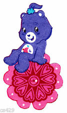 """4"""" Pretty care bears on a flower fabric applique iron on character"""