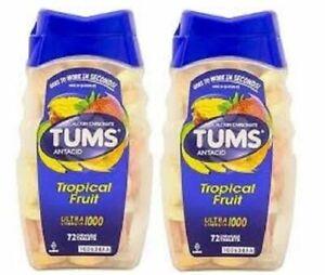 Tums Ultra 1000 Maximum Strength Tropical Fruit Antacid/Calcium 2 Bottle Pack