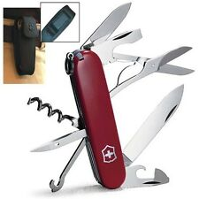 Victorinox Swiss Army Red Climber With Leather Black Pouch Belt Clip 55381 NEW