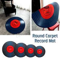 Vinyl Record Printed Soft Round Floor Mat Non-slip Carpet Bedroom Area Pad Rug