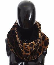 NWT DOLCE & GABBANA Scarf Cowl Leopard Print Black Lamb Fur Collar Wrap
