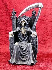 Sensenmann auf Thron Skull Totenkopf Skelett Deko Figur Mystik Gothic Retro