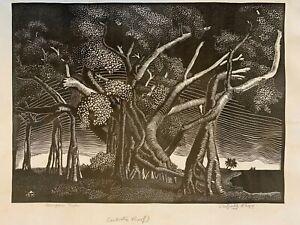 "Sheffield Kagy Wood Engraving ""Banyan Tree"" Artist Proof WPA (1935)"