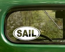 2 SAIL DECALs Sailing Oval Sticker For Car Laptop Truck Bumper Window Boat Jeep