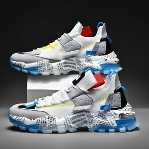 Luxury Men Running Shoes Breathable Printing Fashion Chunky Sneakers thick sole