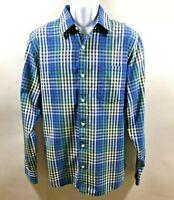 "Mens BANANA REPUBLIC L Button Shirt Soft Wash Blue Green Plaid Long Sleeve-34"""