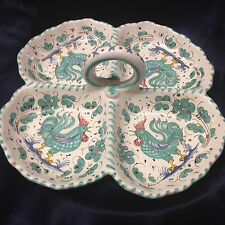 "DERUTA ITALY GREEN ROOSTER 4 PART SERVING DISH 10 3/4"" GREEN FLORAL"