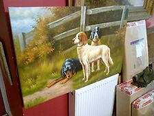 Fine 20th c, Large English School Oil on Canvas .Hunting Dogs Study.