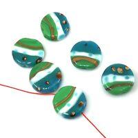 Handmade Lampwork Glass Green Wonder Lentil beads 20mm 6pcs (A14)