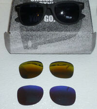 Sunglasses With Interchangeable Lenses Blue Black or Gold Colors NEW 100% UV