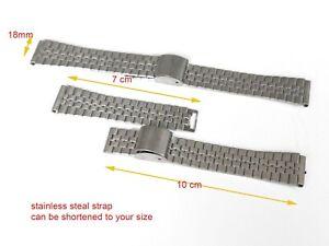 Mens Stainless STEEL SILVER  watch straps bracelets 18mm  strap