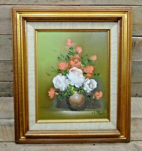 Bright Pink White Roses In Vase Still Life W Beautiful Golden Frame 15 X 13