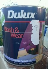 4L DULUX WASH & WEAR - BLACK Interior Flat Acrylic for Ceilings or Walls