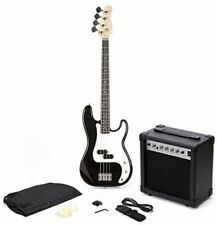 Oypla PB Precision Style Black 4 String Electric Bass Guitar And 15W Amp