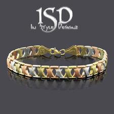 "10k Gold Womens Tri Color X Brush Sparkle Finish Stampato Bangle Bracelet 7"""