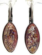 SoHo® Ohrhänger vintage navette rose fireopal 1960er Jahre handgemachtes Glas