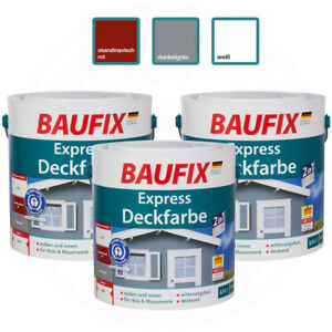 Baufix Express Deckfarbe weiß rot dunkelgrau 2,5 L Lack Grundierung
