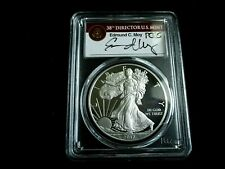 RARE 2017 W AMERICAN SILVER EAGLE ED MOY SIGNED PCGS PR70 DCAM FIRST  STRIKE