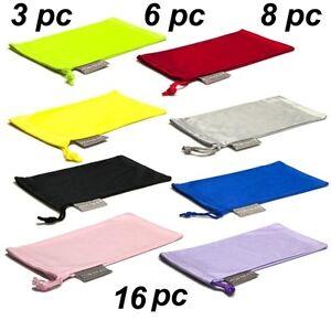 3 Black Microfiber Pouch Bag Soft Cleaning Case Sunglasses Eyeglasses Glasses