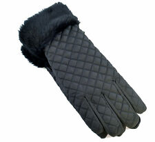 Tom Franks Womens Black Quilted Faux Fur Winter Ski Gloves 28032 One Size