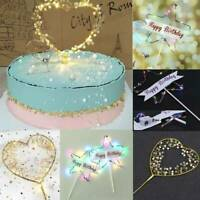 LED Light Pearl Heart Star Cake Topper Birthday Wedding Cake Baking Party Decor