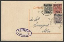 Germany Inflation Official ovpts on Wurtttemburg 10pf 15pf 1M on 1922 postcard