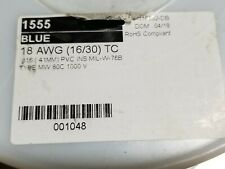Alpha Wire 1555 18awg Tinned Copper Hook Up Wire 1kV 80C MIL-W-76B Blue /100ft