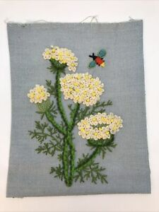 """Vintage Crewel Embroidery Completed Flowers Flying Insect Not Framed 9"""" X 11"""""""
