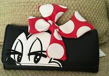 NWT Disney Parks Loungefly Minnie Maus Clutch Geldbörse Polka Dot Bow Schwarz