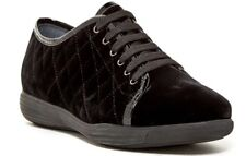 Aquatalia Women's Size 7.5 Glenda Quilted Velvet Leather Sneakers Black $395 NEW