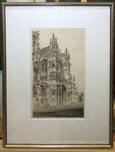 """John Taylor Arms 1947 Etching of Gothic Church """"Memento Vivere""""  Listed Artist"""