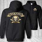 Kayaker skull hooded sweatshirt - kayaking rapids kayak paddle crossbones hoodie