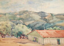 ANTIQUE WATERCOLOR PAINTING IMPRESSIONIST MOUNTAIN LANDSCAPE HOUSE