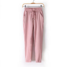 Damen Jogging Chinohose Hohe Taille Schlafanzug OL Hose Harem Stretch
