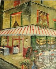 Signed Original Art French Cafe Bistro Painting On Canvas