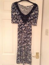 Ladies OASIS Short Sleeved 100% ViscoseDress Size XS Black/Blue/Cream EX COND