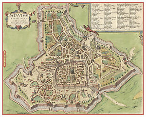 Padua Veneto Italy bird's-eye view map Braun Hogenberg ca.1617