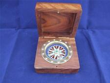 Floating Brass Compass in a Wooden Box.