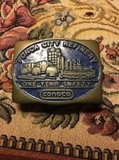 CONOCO One Year Safety  Belt Buckle Solid Brass 1982 Hand Made