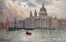 BR74829 st pauls cathedral from the river painting postcard london   uk