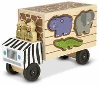Melissa & Doug SAFARI ANIMAL RESCUE TRUCK Pre-School Wooden Toys BN